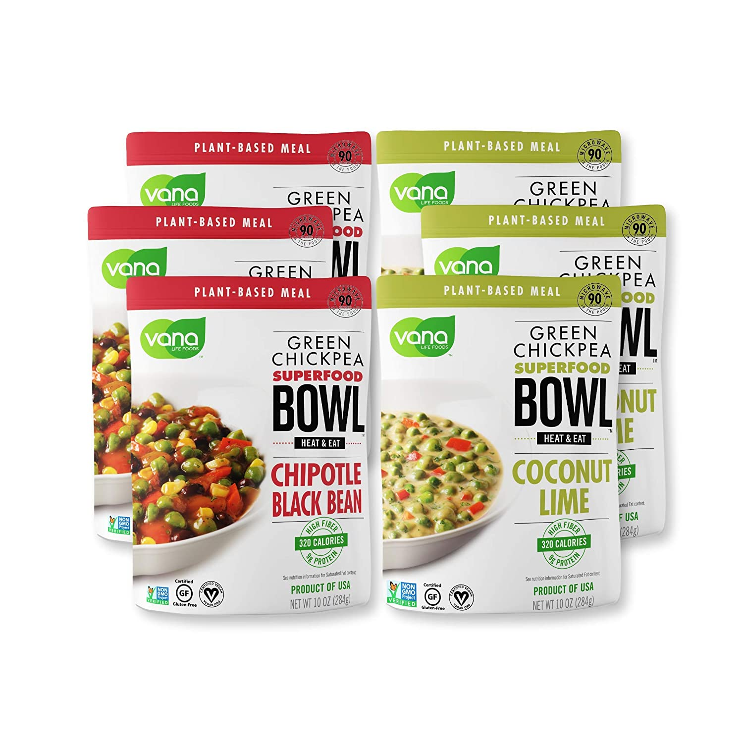 Vana Life's Foods 100% Natural Plant based SuperFood Bowl with Chipotle and Black Bean & Coconut Lime - Emergency Instant Protein Meals | Gluten Free, Vegan Free, Non-GMO - Product of The USA (Pack of 6)
