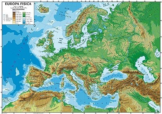 Cartina Geografica Europa In Italiano.Carta Geografica Murale Europa 100x140 Scolastica Bifacciale Fisica E Politica Amazon It Cancelleria E Prodotti Per Ufficio