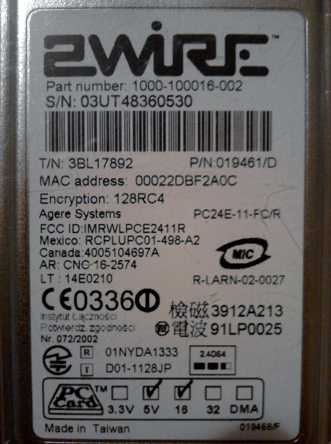 AGERE SYSTEMS IBM HIGH RATE WIRELESS LAN PC CARD 64BIT DRIVER