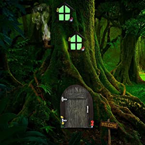 Miniature Fairy Gnome Home Window and Door for Trees, Glow in Dark Fairies Sleeping Door and Windows, Yard Art Garden Sculpture Lawn Ornament Decoration(3Pcs)