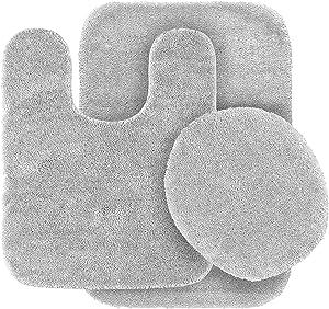 Elegant Home 3 Piece Bathroom Rug Set Bath Rug, Contour Mat, & Lid Cover Non-Slip with Rubber Backing Solid Color # Angela (Light Grey)