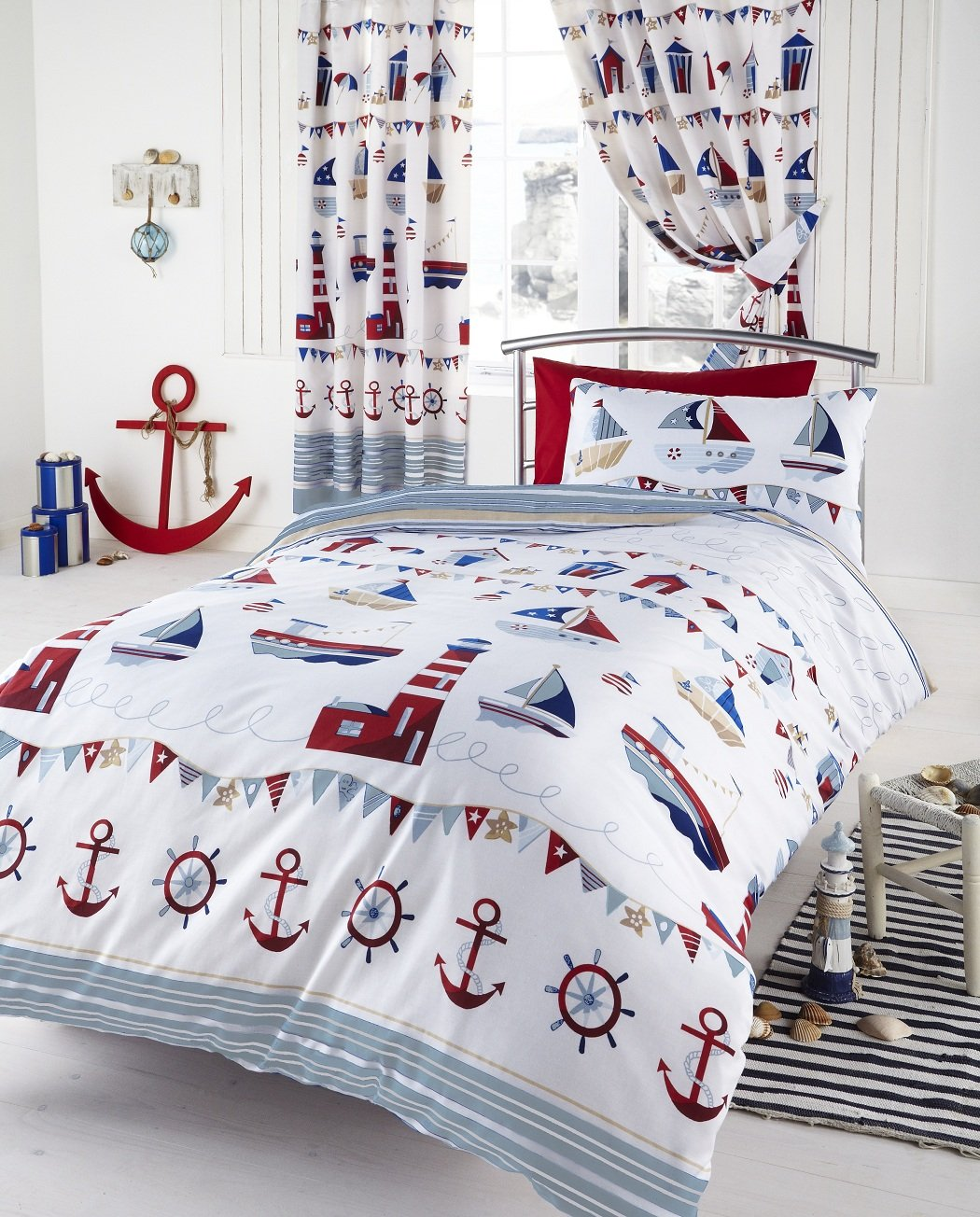 Lighthouse Bedroom Decor Boat Yard Ship Lighthouse Embroidered Double Bed Duvet Cover Quilt