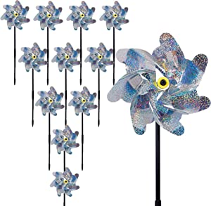 DR.DUDU Bird Blinder Repellent Pinwheels, 10 Pack Sparkling Pinwheels Have a Deterrent Effect on Birds in Yard Keep Birds Away Garden Decorations Beautify The Garden