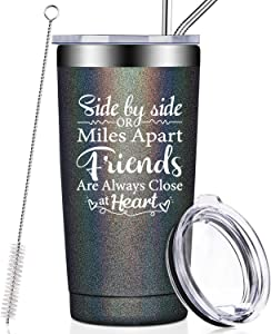 Best Friends Birthday Gifts for Women, Side By Side or Miles Apart, Friends Are Always Close at Heart, Long Distance Friendship Gifts for Soul Sisters, BFF, Besties, Coworkers, Wine Tumbler Cup