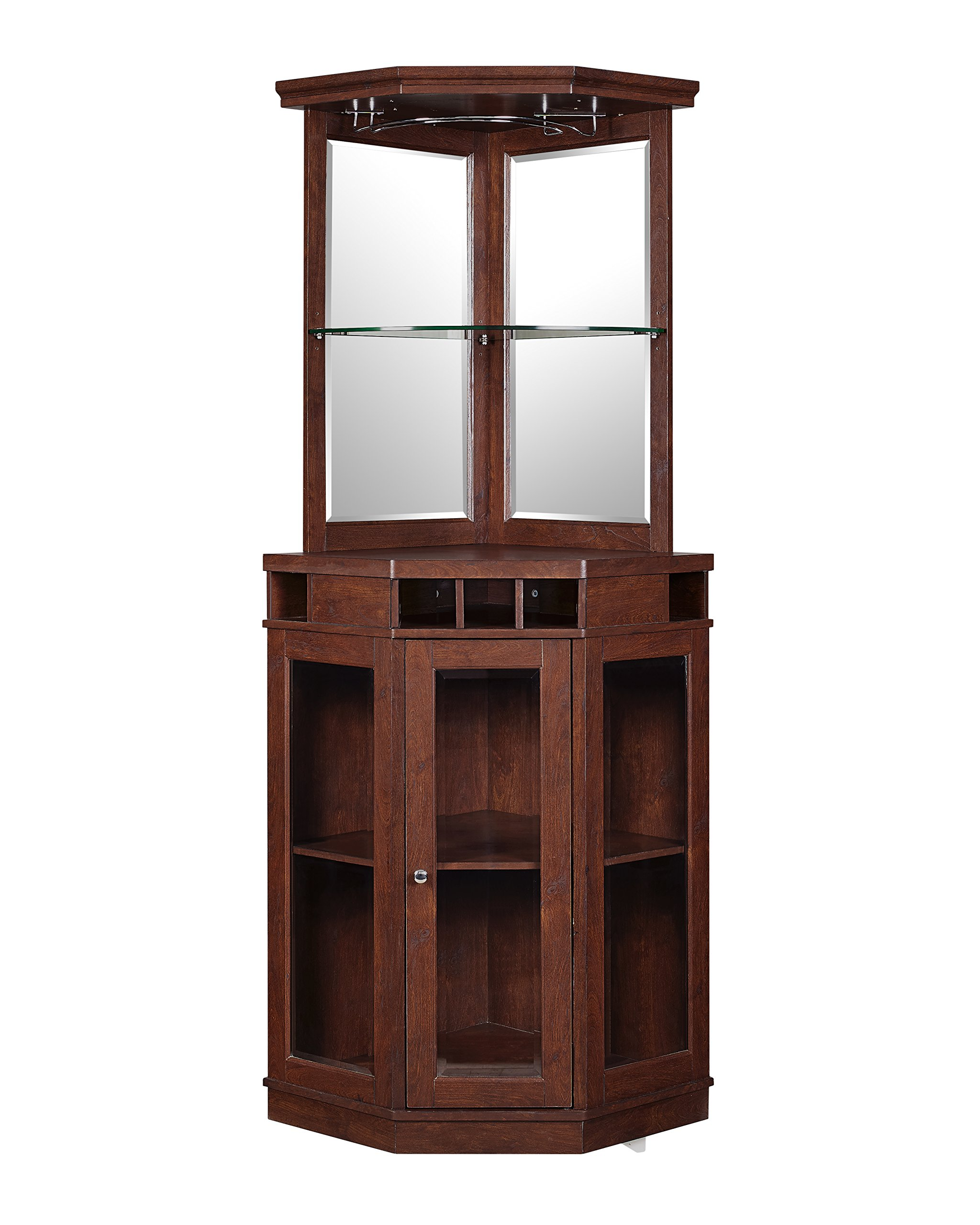 Red Barrel Studio Corner Arms Bar with Wine Storage (Mahogany)