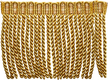 Gold Color Bullion 4 inchTassel Fringe Trim sold By 5 The Yard
