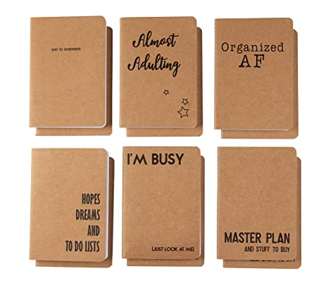 Kraft Notebook Bulk - 12-Pack Lined Pocket Notebook, Travel Journal Set for  Diary, and Notes, 6 Different Millennial Phrases Designs, Soft Cover, 80