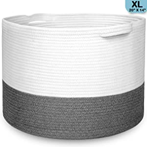 Promora Cotton Rope Extra Large Storage Basket - Woven Storage Basket for Living Room, Bedroom, Kids Room, Laundry Room and Nursery Room- Blanket Basket with Handles 20 inch x 20 inch x 14 inches