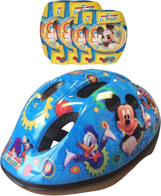 Disney-K865507 Mickey Mouse Casco, Coderas y Rodilleras para Bicicleta, Color Azul y Amarillo, 36 (Stamp K865507)