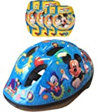 Disney-K865507 Mickey Mouse Casco, Coderas y Rodilleras para Bicicleta, Color Azul y Amarillo, 36 (Stamp K865507)