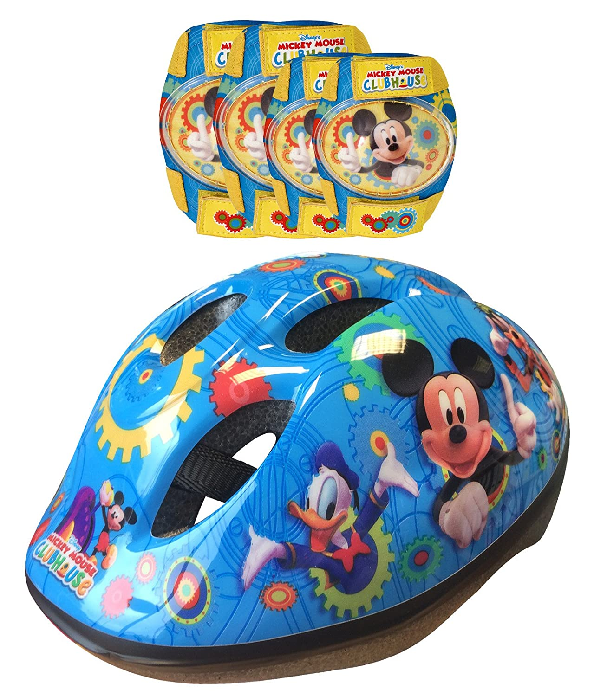 Disney K865507 Mickey Mouse-Casco, Coderas y Rodilleras para Bicicleta, Color Azul y Amarillo, 36 (Stamp