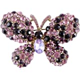 Alilang Two Toned Amethyst Rhinestone Enchanted Fairytale Butterfly Pin Brooch