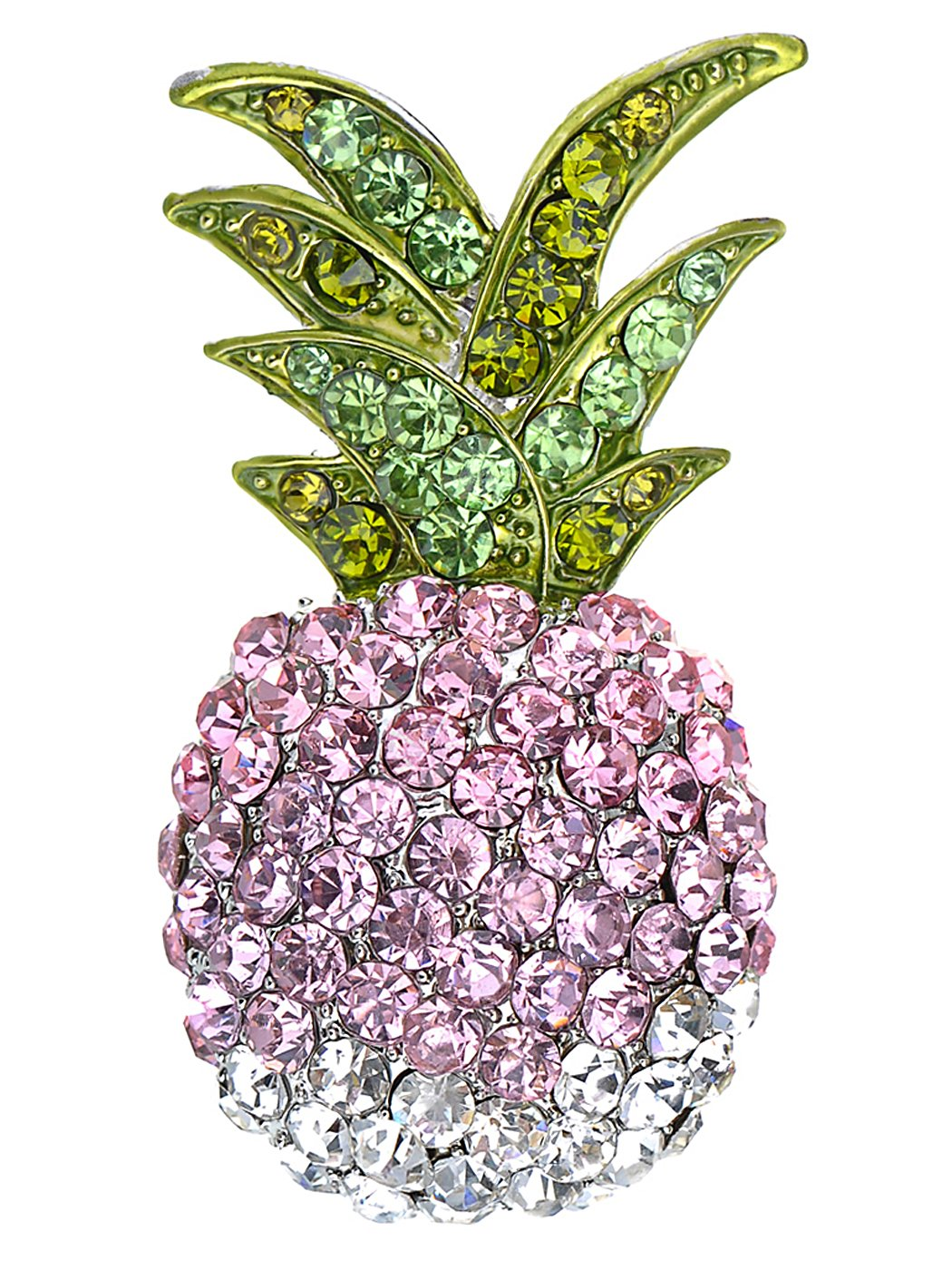 Alilang Silvery Tone Ombre Colored Rhinestone Tropical Pineapple Fruit Brooch Pin