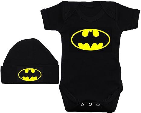 Bate bebé Pelele Body de//Chaleco/Camiseta & Beenie Gorro De Batman Negro 0 A 12 Meses: Amazon.es: Ropa y accesorios
