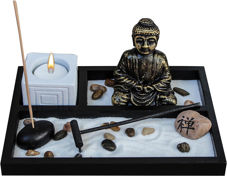 Zen Garden Deluxe Desk Meditation Garden Buddha Statue with Tea Light Holder, Incense Holder, Incense, Rocks, Sand, and Rake (Candle Not Included)