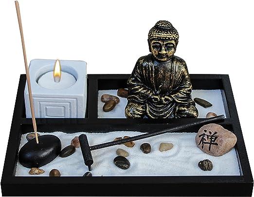 Zen Garden Deluxe – Estatua de Buda para Meditación de Jardín, con portavelas, Soporte de Incienso, Incienso, Rocas, Arena y rastrillo (Brazo no Incluido): Amazon.es: Hogar
