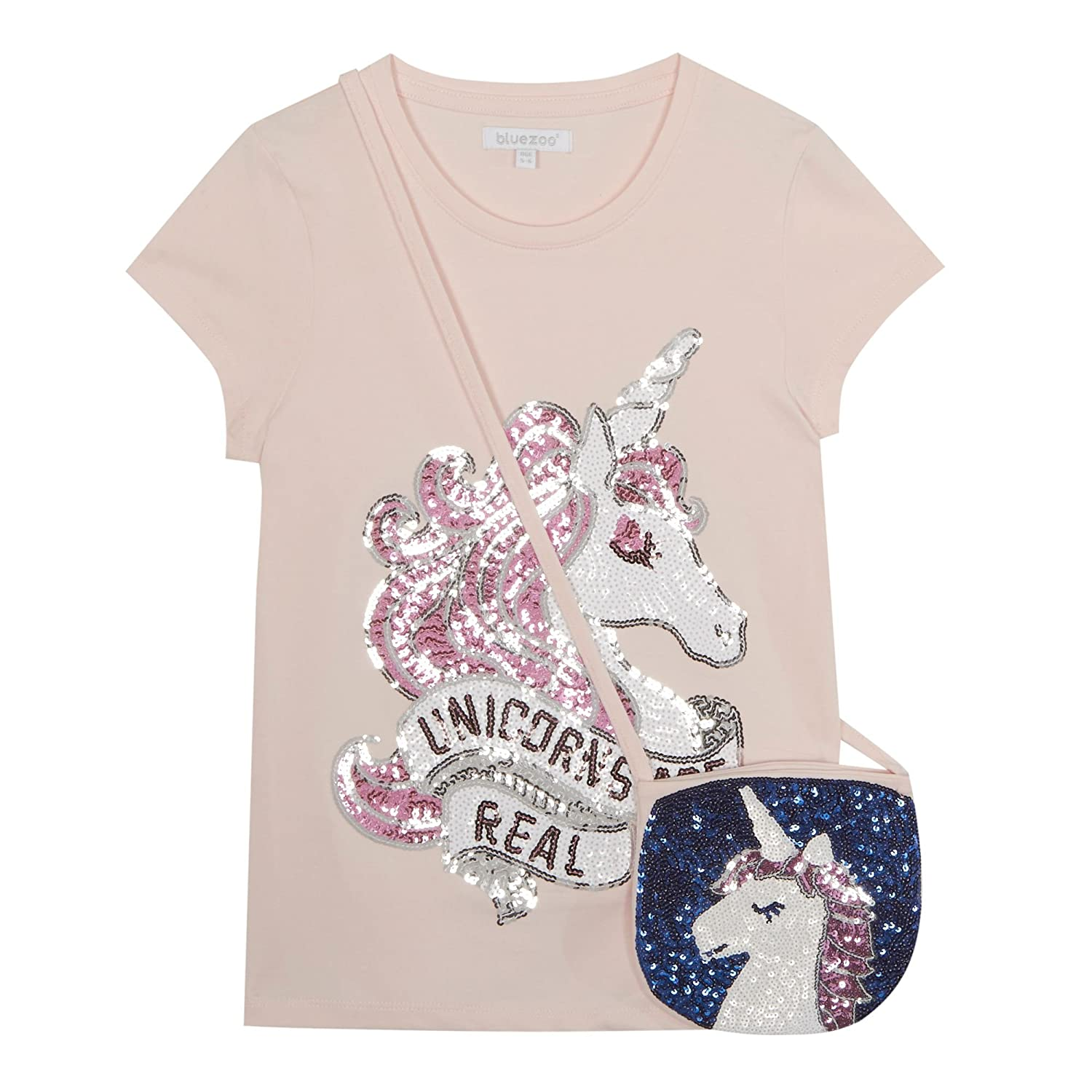 bluezoo Kids Girls' Pink Sequinned Unicorn T-Shirt and Bag Set