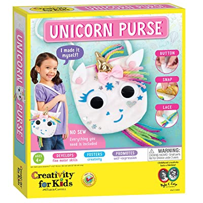 Creativity for Kids Unicorn Purse - Create A No Sew Fabric Unicorn Bag - Crafts - Boosts Fine Motor Skills for Preschoolers, White: Toys & Games