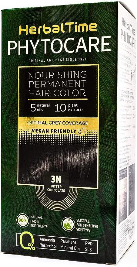 Phytocare Tinte permanente y nutritivo para cabello sin amoniaco, sin PPD, sin SLS, sin parabenos Color Chocolate Negro 3N