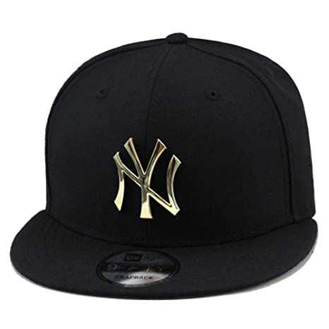 0d193aa38 New Era 9fifty New York Yankees Black/Gold Metal Badge Snapback Hat Cap