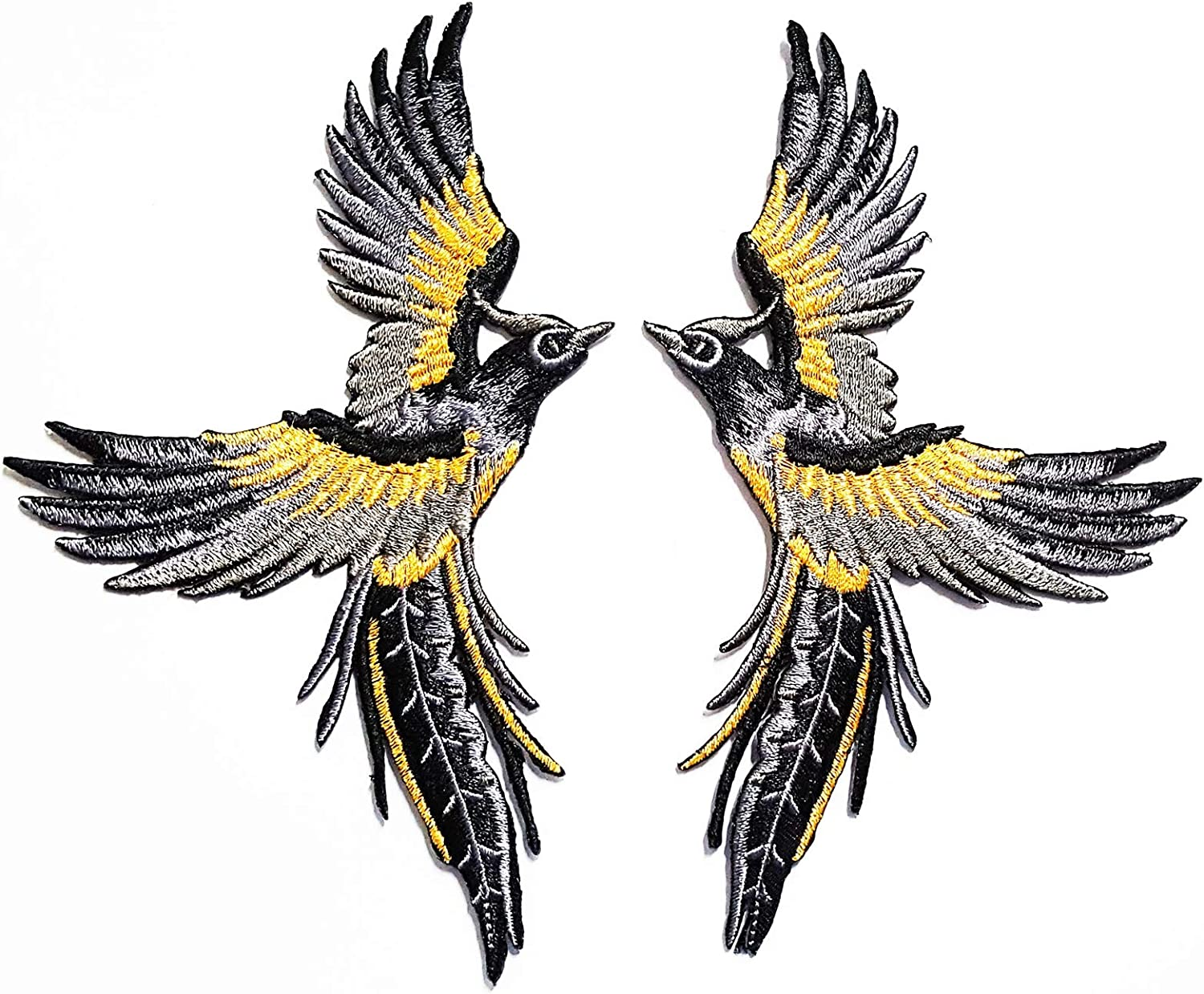 Nipitshop Patches Set Phoenix Phenix Birds Gray Black Embroidered Appliques Iron-on Patches for Clothes Backpacks T-Shirt Jeans Skirt Vests Scarf Hat Bag