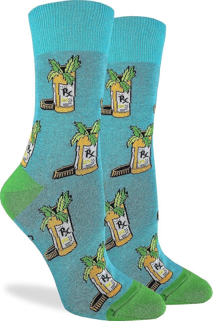 Green Adult Shoe Size 5-9 Good Luck Sock Womens Medical Marijuana Socks