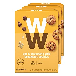 WW Oat & Chocolate Chip Breakfast Cookies - 3 SmartPoints, Nut Free - 3 Boxes (15 Count Total) - Weight Watchers Reimagined