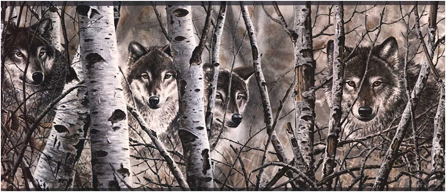 York Wallcoverings Lake Forest Lodge WD4170B Wolves Border, Off White/Gray Band