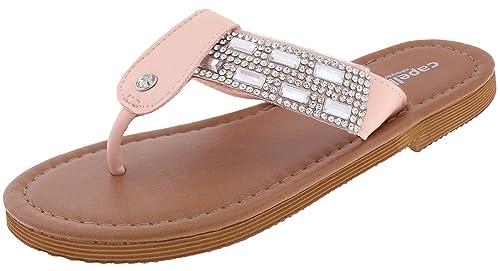eb0edd3df Capelli New York Girls Flip Flops with Gem and Rhinestone Trim Pink 1 2
