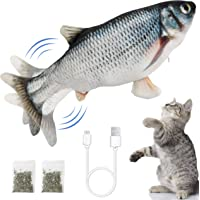 Ozoosh Pets Electric Flopping Fish Cat Toy Interactive Cat Toys Catnip Toy Chew Toys Floppy Fish Cat Kicker Toy for Cat…