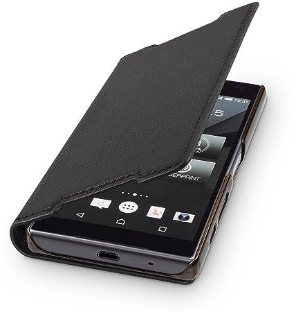 WIIUKA Echt Ledertasche -TRAVEL- für Sony Xperia Z5 Compact, Hülle mit Kartenfach, Schwarz, extra Dünn, Premium Design Leder