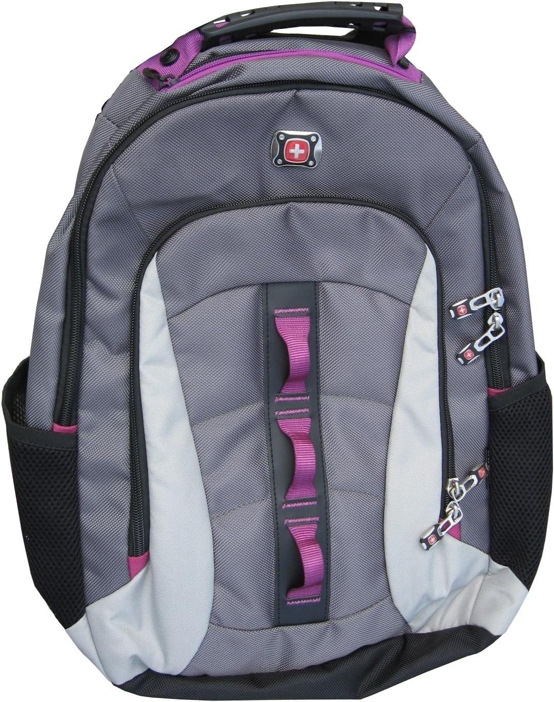 SwissGear Skyscraper 16 Padded Laptop Backpack School Travel Bag Grey Magenta