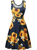 FENSACE Women's Scoop Neck Sleeveless Midi Casual Flared Tank Floral Printed Dress … …