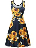 FENSACE Women's Summer Casual Flared Floral Midi