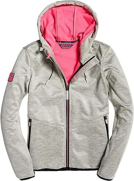 Superdry Damen Hooded Windtrekker Sportjacke, Grau (Storm