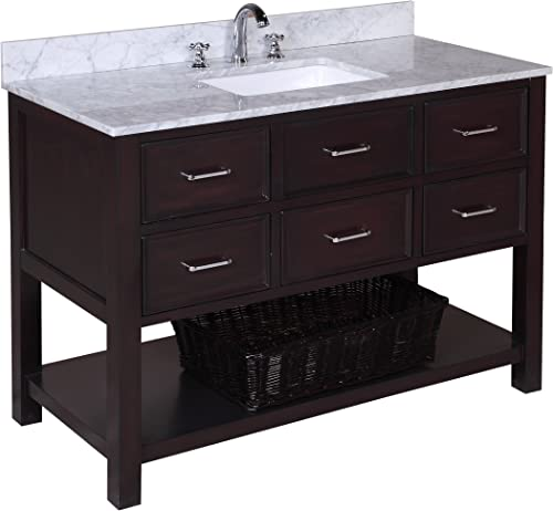 New Hampshire 48-inch Bathroom Vanity Carrara Chocolate Includes Authentic Italian Carrara Marble Countertop, Chocolate Cabinet with Soft Close Drawers, and White Ceramic Sink
