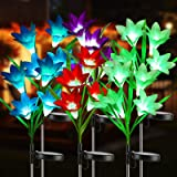 BrizLabs Solar Lily Flower Lights, 6 Pack 24 LED Outdoor Solar Powered Garden Lights , Waterproof Multi-Color Changing Flower