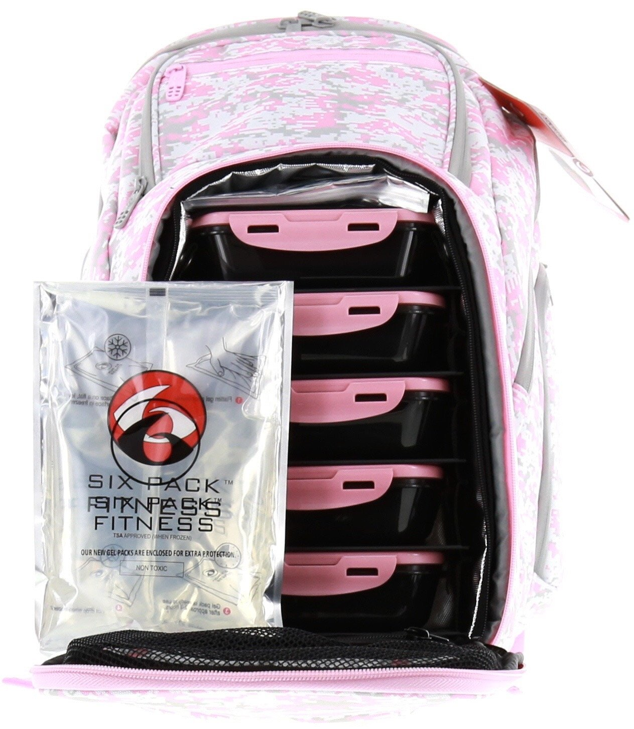 6 Pack Fitness Expedition Backpack W/ Removable Meal Management System 500 Pink & Grey Digital Camo w/ Bonus ZogoSportz Cyclone Shaker by 6 Pack Fitness (Image #4)