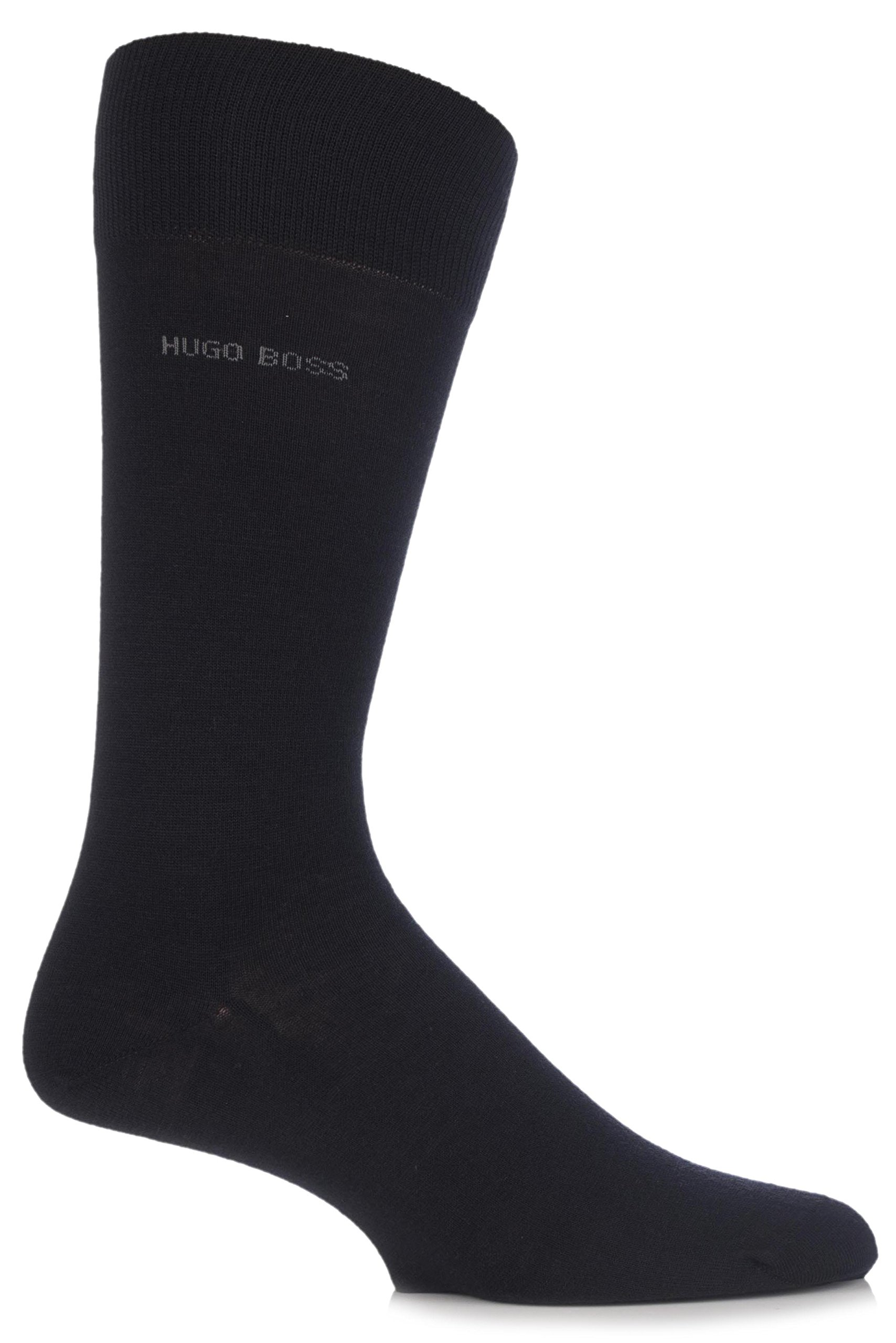 Hugo Boss Men's 1 Pair John Plain Finest Wool and Soft Cotton Socks 8-9 Black