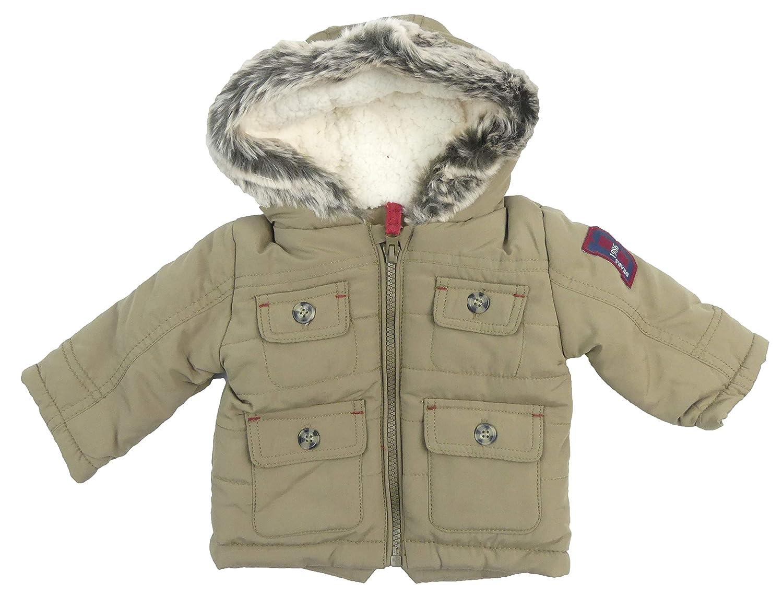 Store stock Baby Toddler Parka Coat Padded Hooded Jacket Fleece Lined Khaki Fur Trim Hood