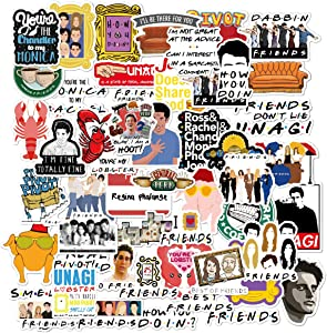 Friends TV Show Merchandise Stickers Pack of 50 Stickers-Funny Quote Waterproof Vinyl Stickers for Laptop Hydro Flasks Water Bottles Phone Notebook Computers Guitar Bike Helmet Car-Interesting Gift