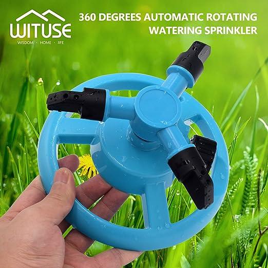 Aspersor de césped automático para sistema de riego de jardín, color azul, 360 ° de rotación: Amazon.es: Jardín