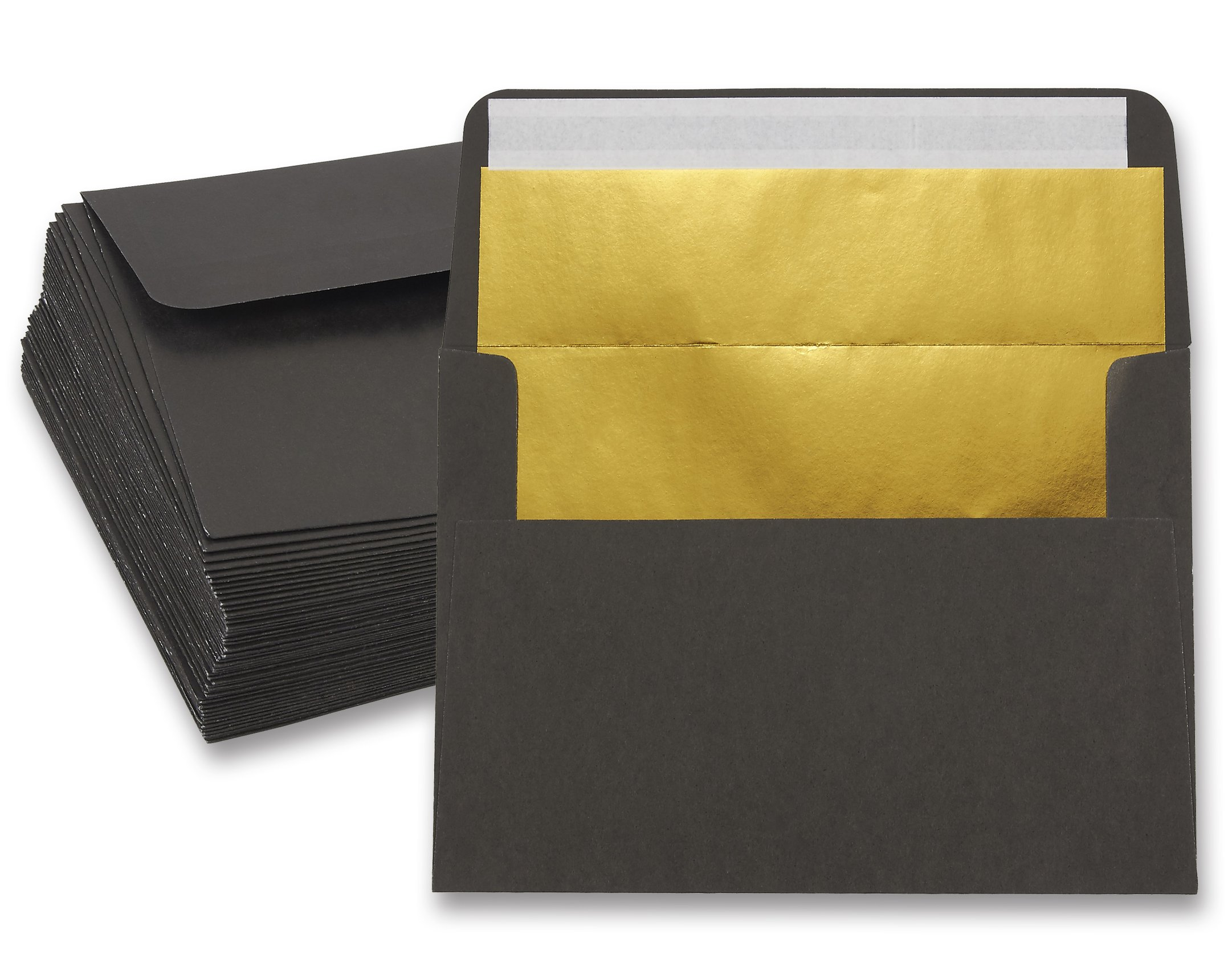 50 Pieces A7 Invitation Envelopes - Gold Foiled Lined Envelopes- Perfect for Weddings, Graduations, Birthday Invitations - 120gsm, Black Outside, Gold Inside, 120 GSM Envelopes, 5 x 7 Inches
