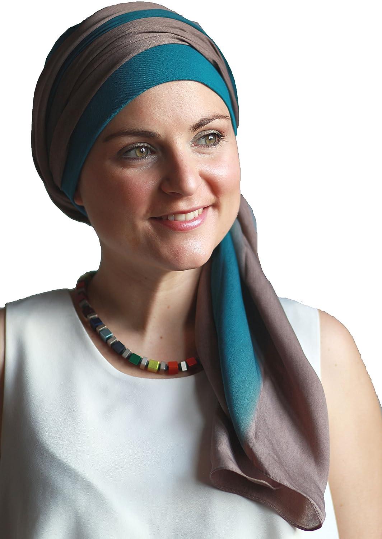 Alegre pañuelo Fusion azul y marrón para la cabeza con gorro interior antideslizante.