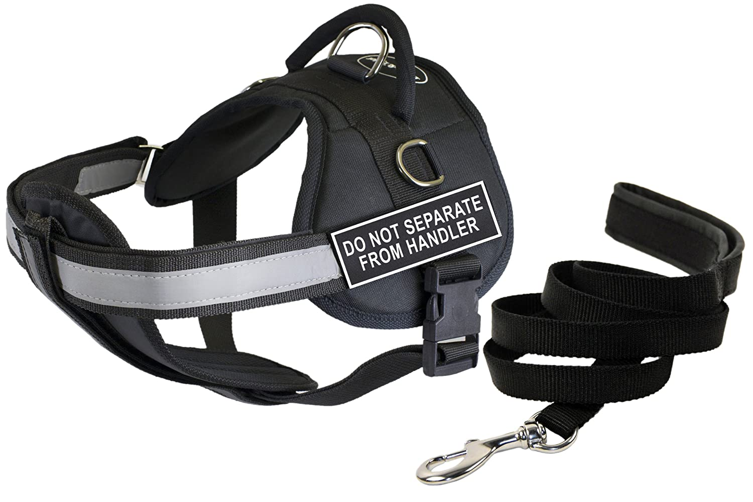 Dean & Tyler's DT Works DO NOT Separate from Handler  Harness with Chest Padding, Large, and 6 ft Padded Puppy Leash.