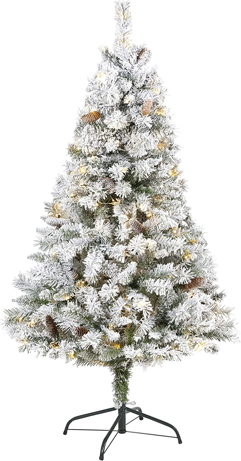 Nearly Natural 5ft. Flocked White River Mountain Pine Artificial Christmas Tree with Pinecones and 150 Clear LED Lights, Green