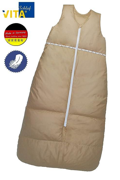 Vita Dormir Saco de dormir (Plumón hendiduras fabricada en Alemania marrón claro Talla:130cm