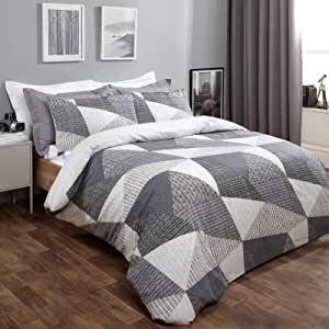 Dreamscene Geometric Duvet Cover with Pillowcases Textured Scandi Bedding Set, Charcoal Grey - Superking