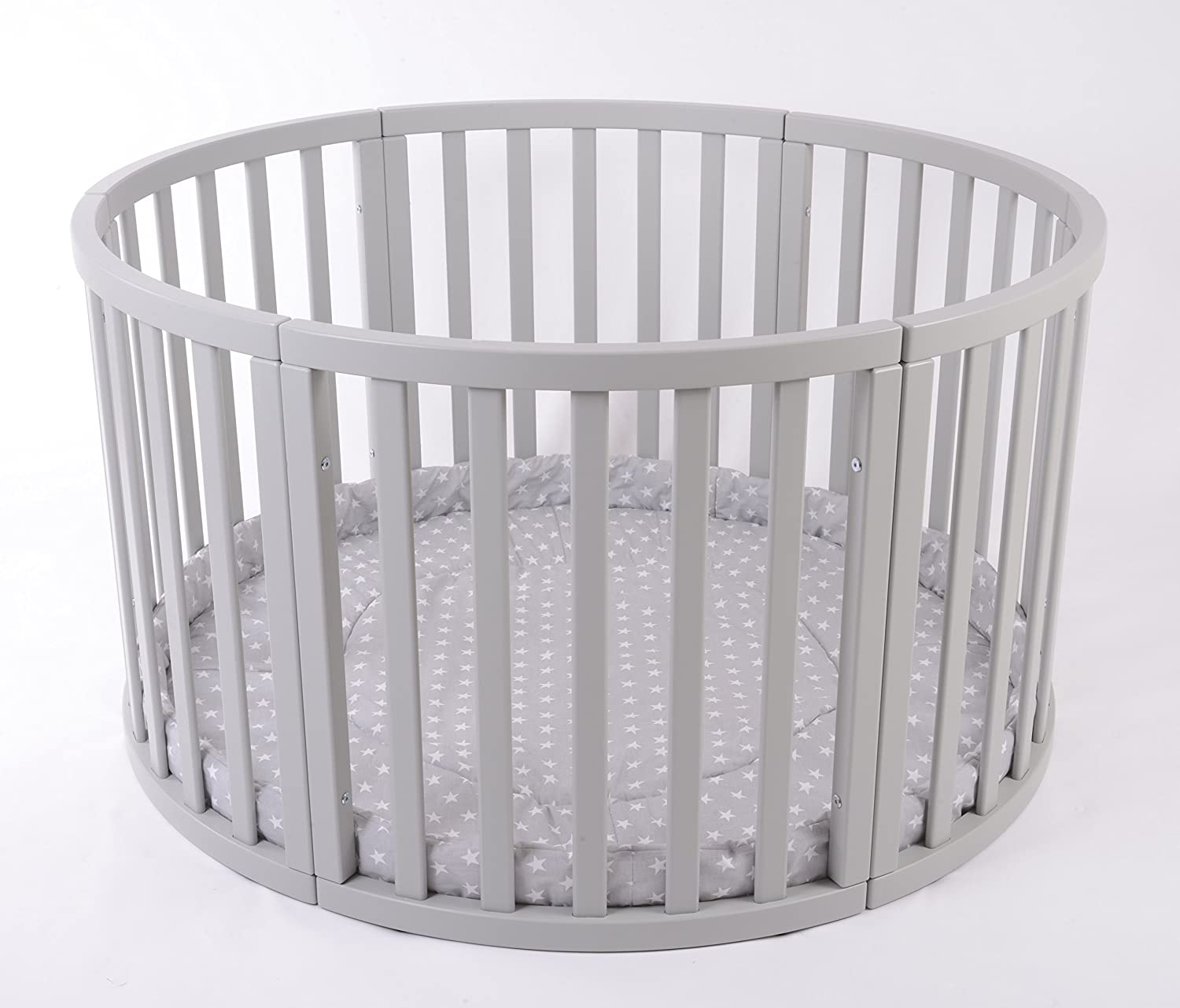 Round PLAYPEN APOLLO QUATTRO Brand NEW VERY LARGE Wooden play pen with play-mat in Grey with white Stars by MJmark SALE SALE