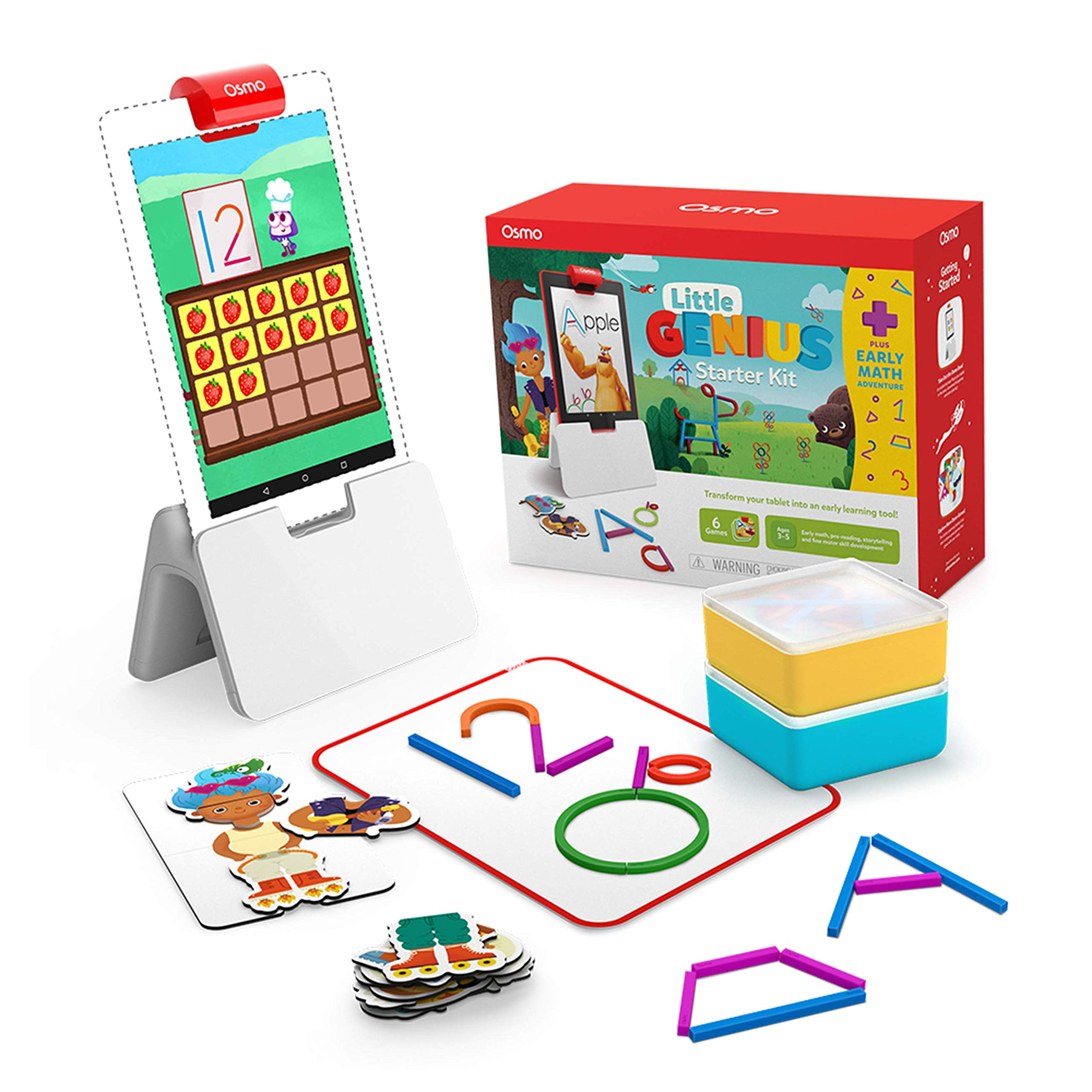 Osmo - Little Genius Starter Kit for Fire Tablet + Early Math Adventure - 6 Educational Games - Ages 3-5 - Counting…